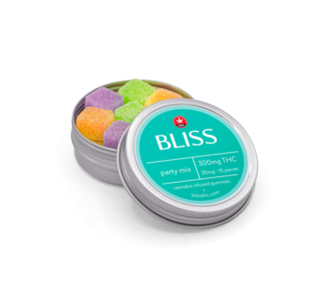 300mg THC bliss party gummy mix available for sale in Ottawa by the Green Mates same day weed delivery