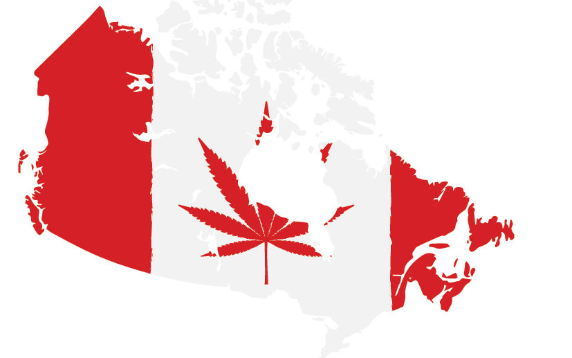 Canada with a picture of a canadian leaf with a weed leaf.